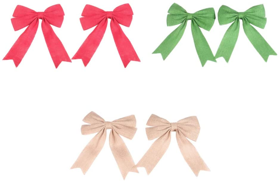 TOYANDONA 6pcs Burlap Bows Christmas Tree Bow Toppers DIY Bows for Gift Wrapping Christmas Rustic Wedding Car Chair Decorations (Flaxen Red Green)