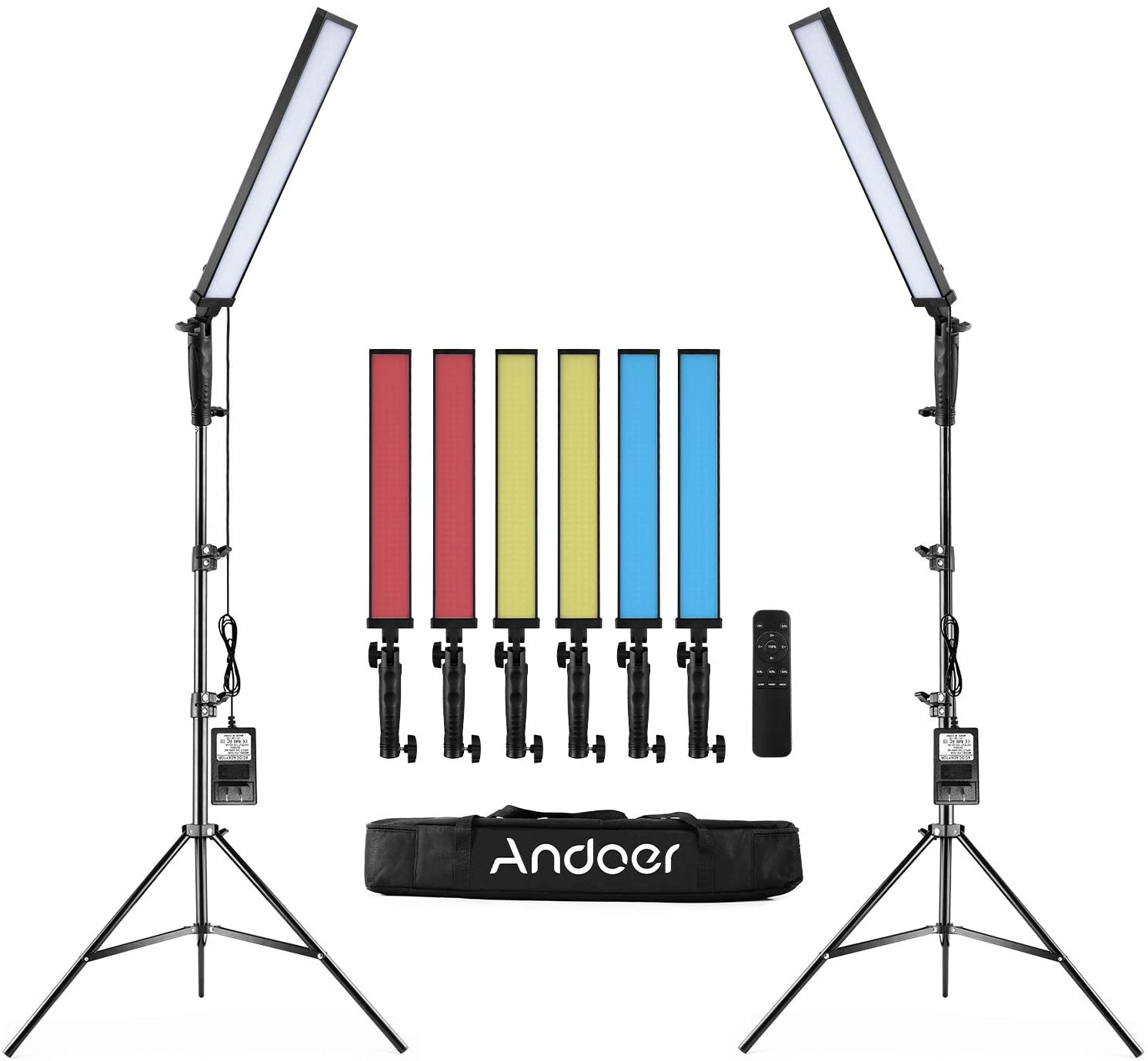 Andoer BH-20H Handheld Photography LED Light Kit with 2 LED Light /1 Remote Control/2 2M Light Stand/1 Carry Bag/6 Color Filters for Video Portraits Wedding Advertisement Photography