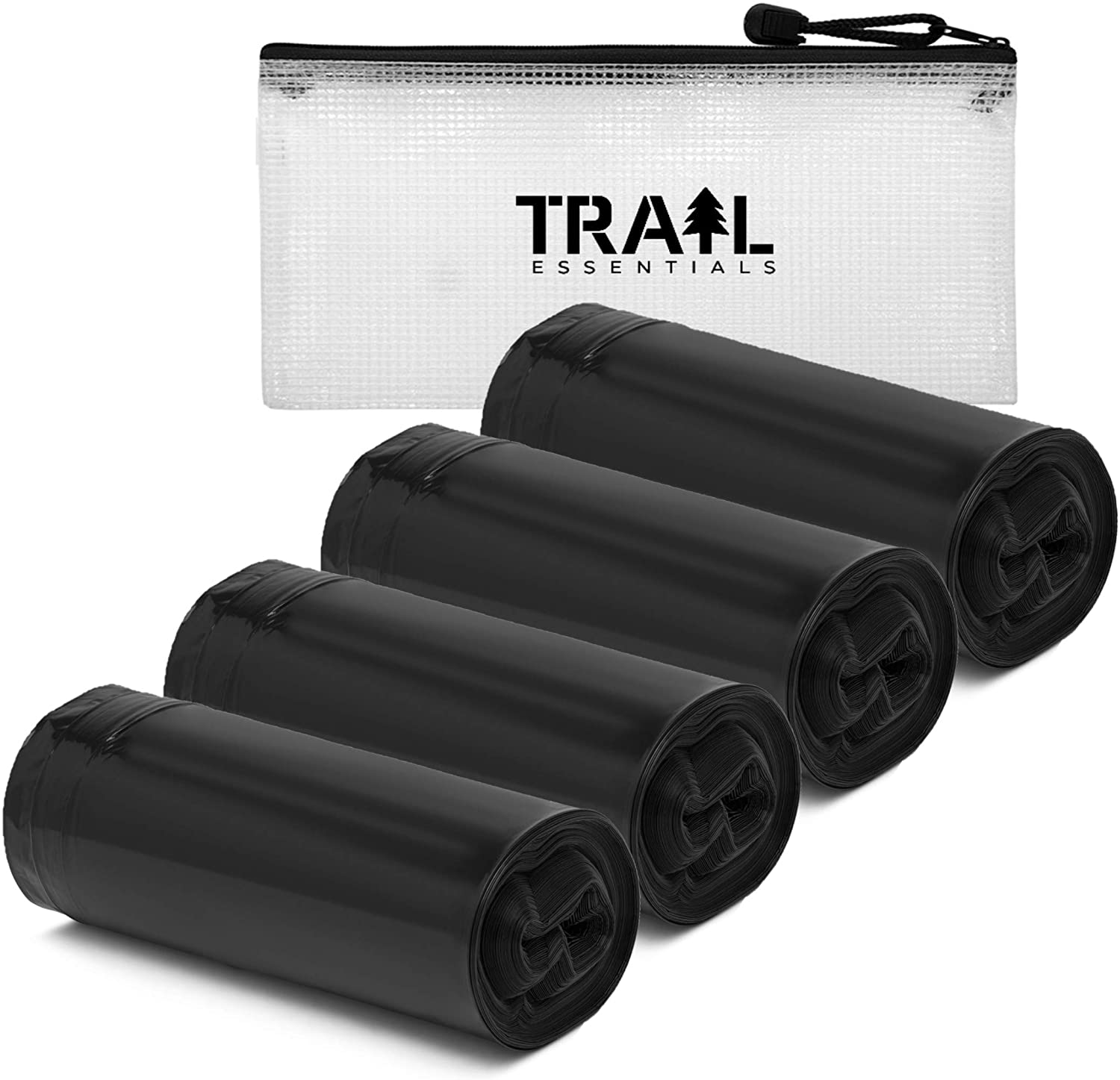 Trail Essentials Toilet Liners; Hygienic, Leak-Proof, Odor Free, Compatible with Camping Commodes and Portable Toilets, Black Opaque Color– Roll of Liners in Convenient Carry Case