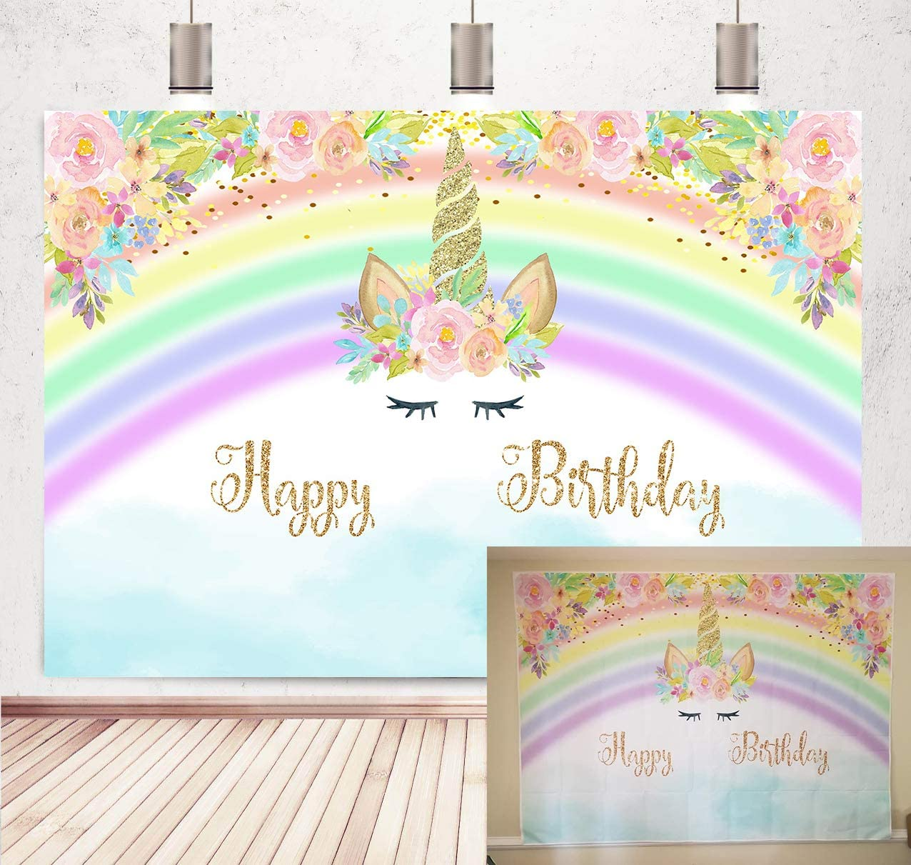 Botong 5x3ft Unicorn Rainbow Birthday Party Colorful Flower Backdrop Photography for Kids Birthday Baby Shower Unicorn Party Decor Background Photo Studio Props Banner