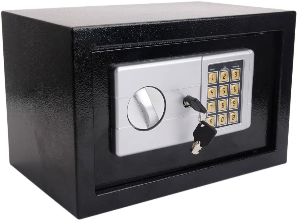 KepooMan Mini Wall-in Style Electronic Code Metal Steel Box Safe Case Pistol Safe Money Box Security Gun Cabinet, Black