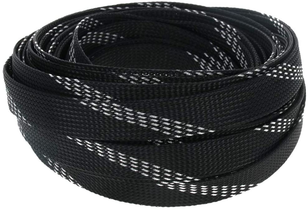Othmro Expandable Braided Sleeving, 16 mm Flat Width Braided Cable Sleeve, Black and Sliver 1 pcs