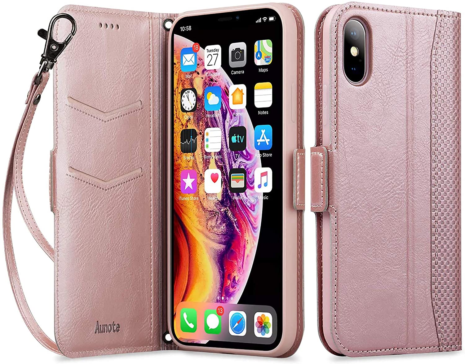 Aunote iPhone X Case, iPhone 10 Leather Wallet Case, Dropproof Case, Flip Folio Wallet Case with Kickstand Function, Card Slots, Magnetic Closur for iPhone X 5.8