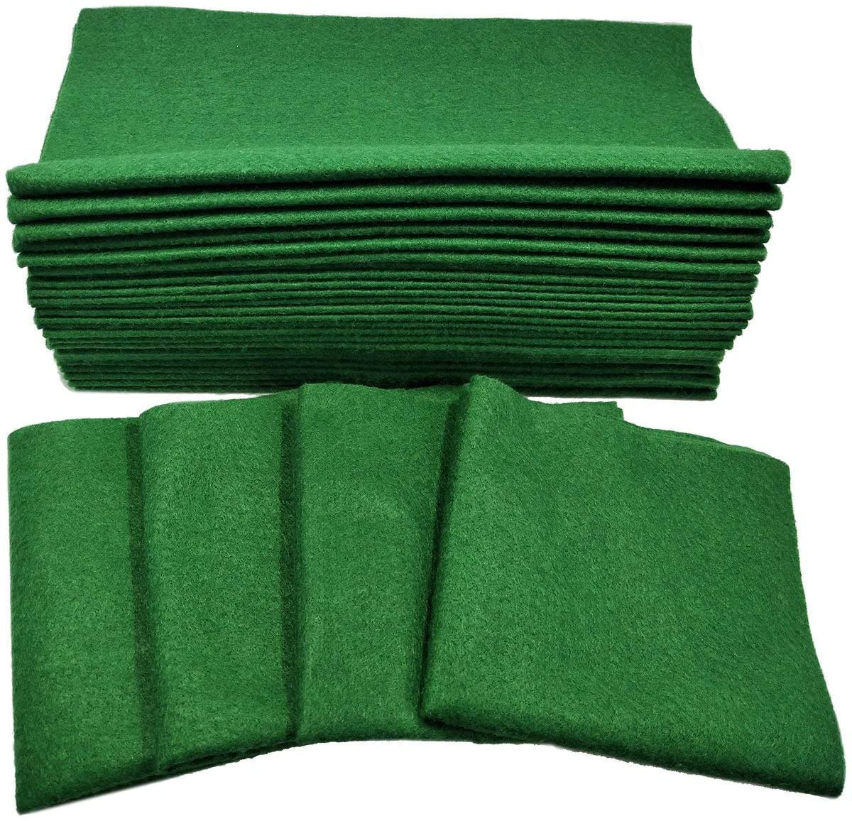 Misscrafts 30pcs 12 X 12 Inches 1.4mm Kelly Green Christmas Felt Squares Soft Christmas Felt Sheets Christmas Felt Arts and Crafts Felt Fat Quarters DIY Sewing Nonwoven Patchwork Wool Blended Felt