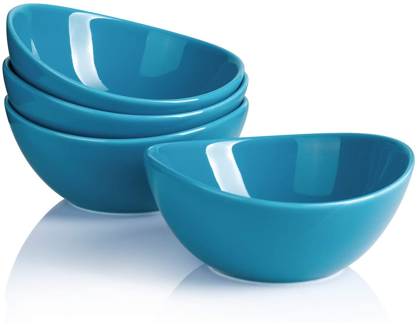 Sweese 101.407 Porcelain Bowls - 10 Ounce for Ice Cream Dessert, Small Side Dishes - Set of 4, Steel Blue