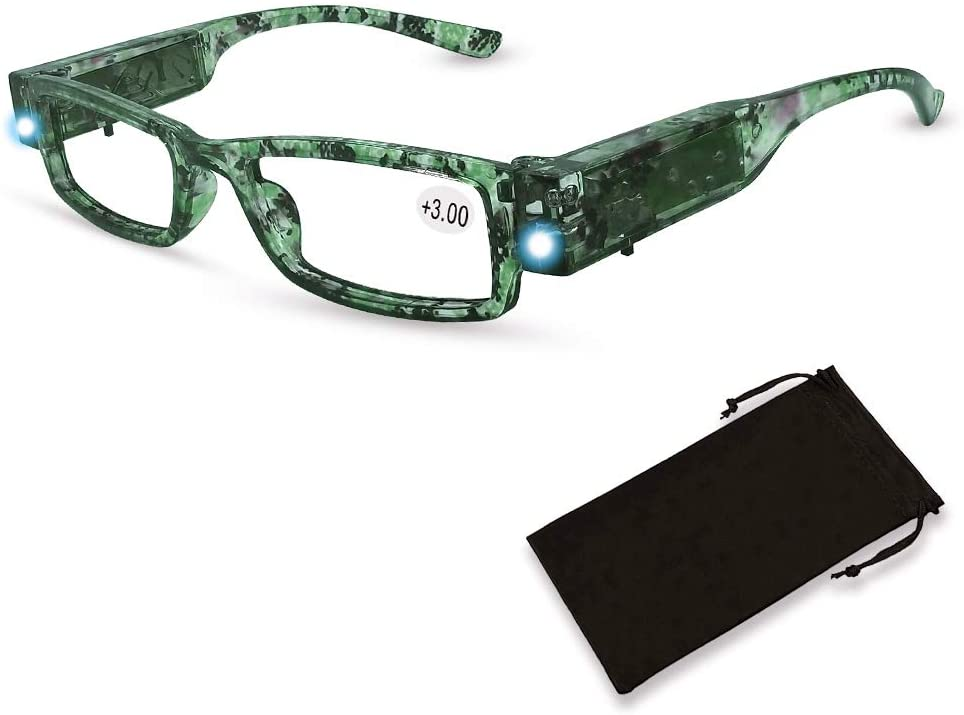 Led Reading Glasses Bright LED Readers with Lights Reading Glasses Lighted Magnifier Nighttime Reader Compact Full Frame Eyewear Clear Vision Unisex Clear Vision Lighted Eye Glasses,+300