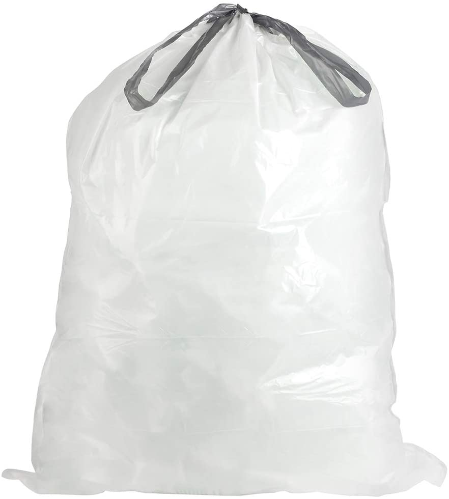 Plasticplace Custom Fit Trash Bags │ Simplehuman TRA150WH Code F Compatible (200 Count) │ White Drawstring Garbage, Liners 6.5 Gallon / 25 Liter │ 21.75