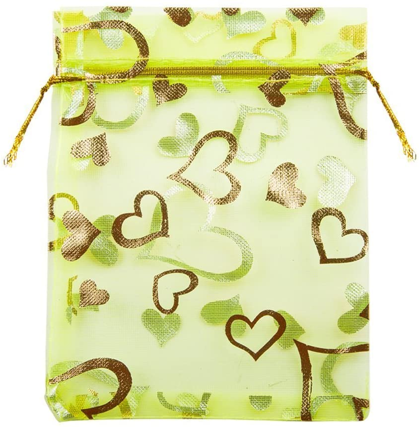 Tovip 100PCS 3.5x4.5'' (9x12cm) Organza Bags Jewelry Wedding Favors Party Pattern Printed Drawable Packaging Display & Gift Pouches (Green Heart)