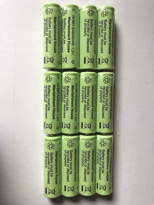Ntertainment House Set of 12 Solar Light Ni-cd or Ni-Mh Rechargable Batteries for Solar Lights (AA 600mAh Ni-Mh)
