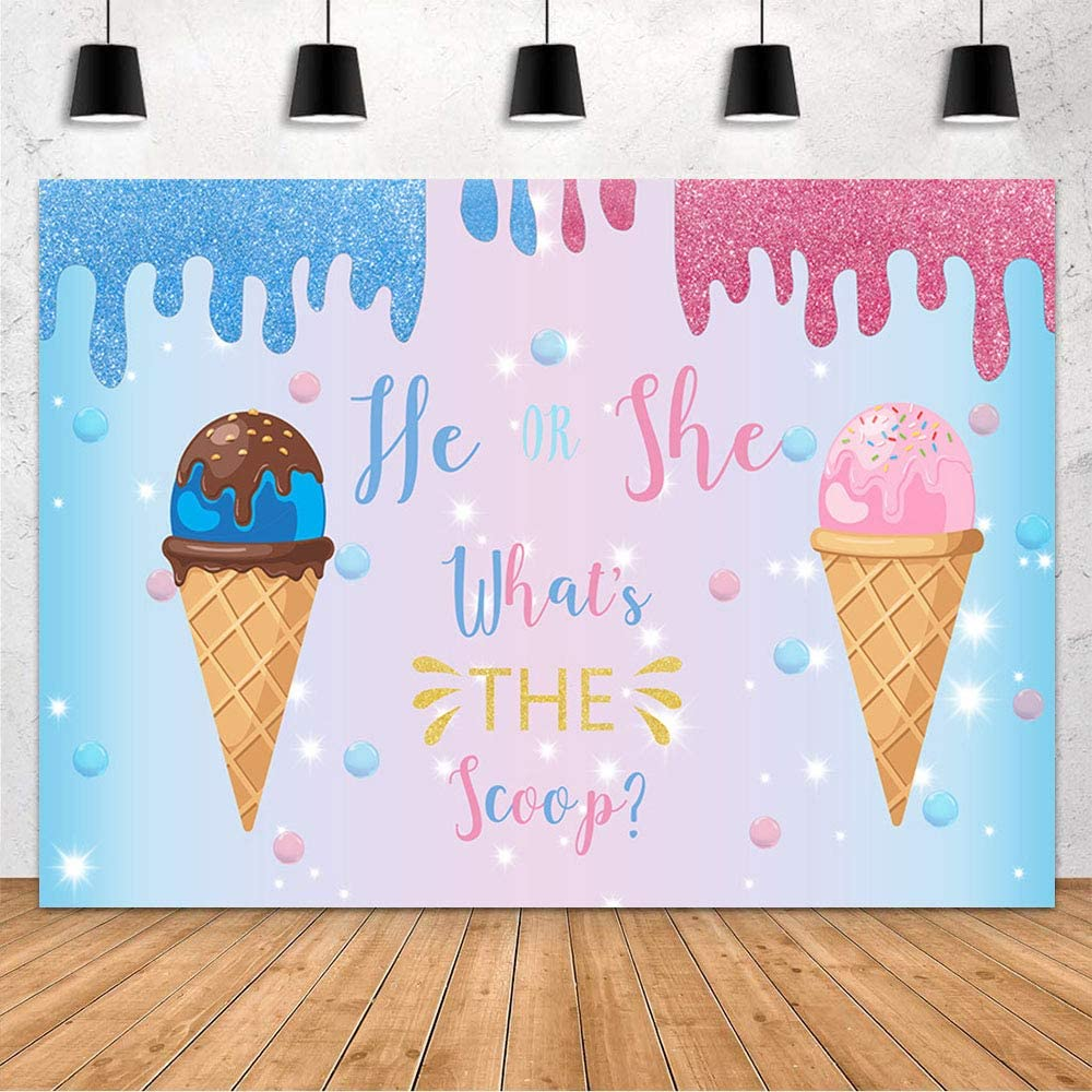 Mehofond Ice Cream Theme Baby Shower Party Backdrop Decoration Backdrop Gender Reveal He or She Whats The Scoop Pink Blue Photography Background Banner Studio Photo Props Vinyl 7x5ft