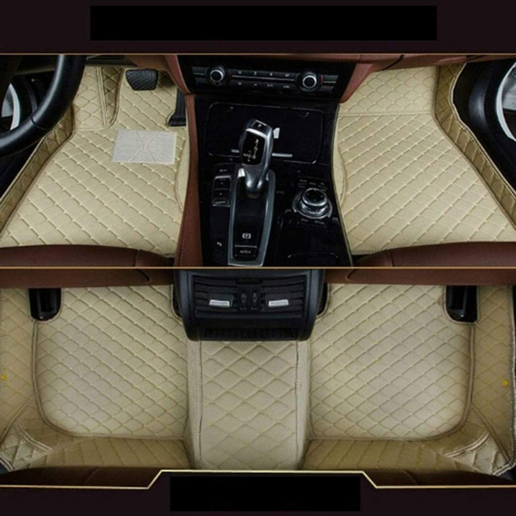8X-SPEED Custom Car Floor Mats Fit for BMW 6 Series 640i 650i 2011-2016 4-Doors Full Coverage All Weather Protection Waterproof Non-Slip Leather Liner Set Beige