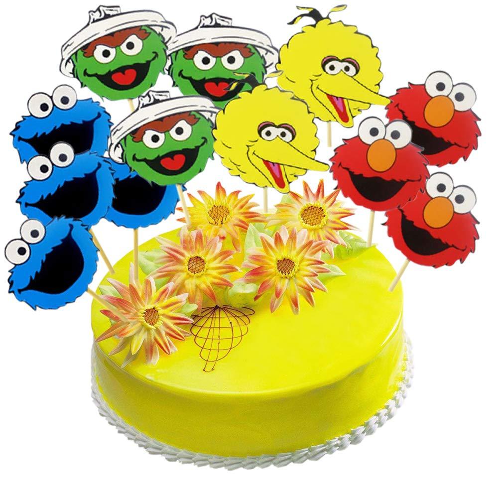 Sesame Street 24 Pcs Cake Topper, Happy Birthday Sesame Cake Topper,ELMO/BIG BIRD/COOKIE MONSTER/BERT/ Birthday Party Cupcake Toppers