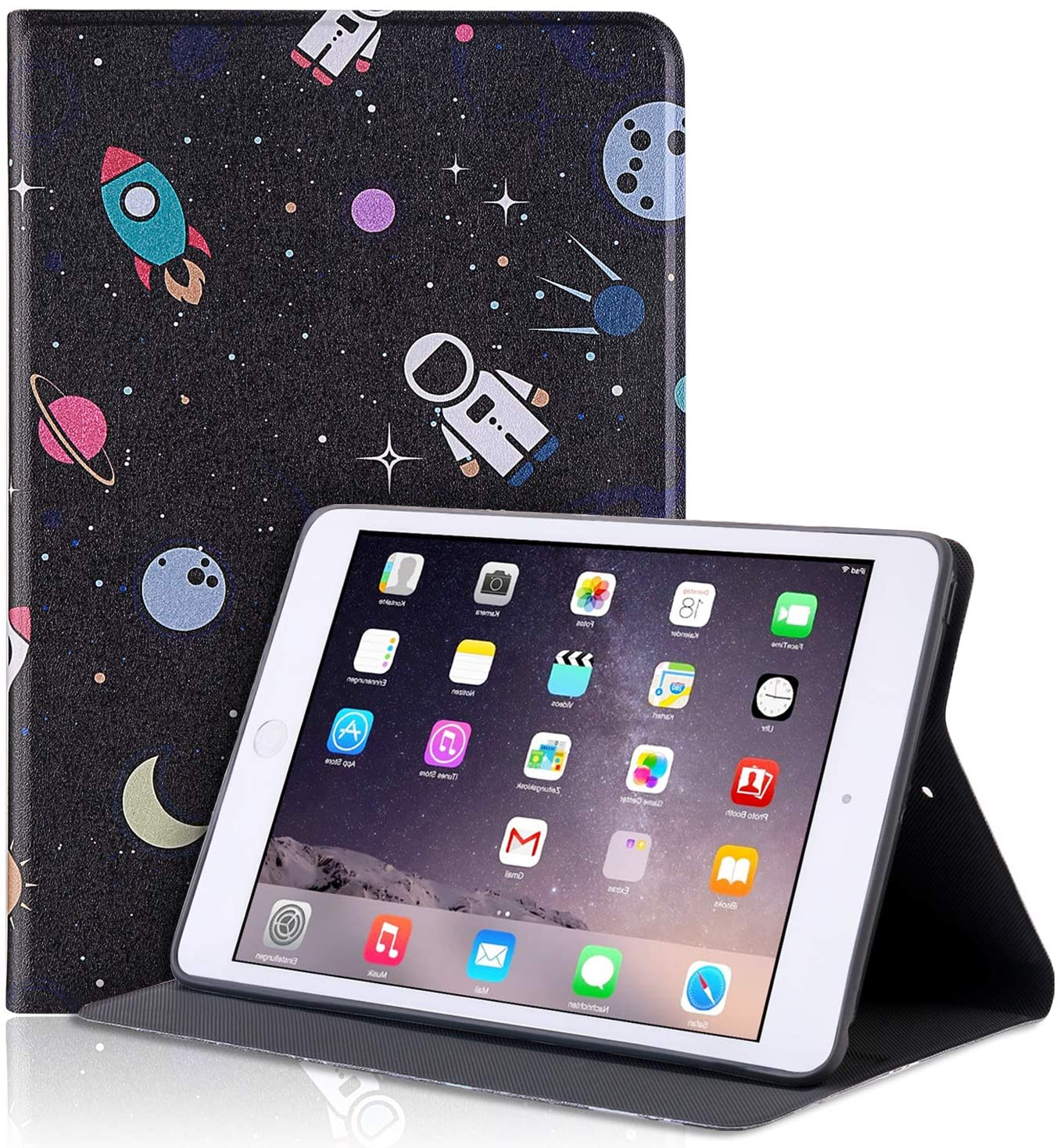 PBRO for New iPad Mini 5th Gen Case 2019 7.9-inch,Cute Astronaut Leather Design Trifold Case Ultra Slim ase with Sleep/Wake Cover for iPad Mini 5 Case 2019,Space/Black