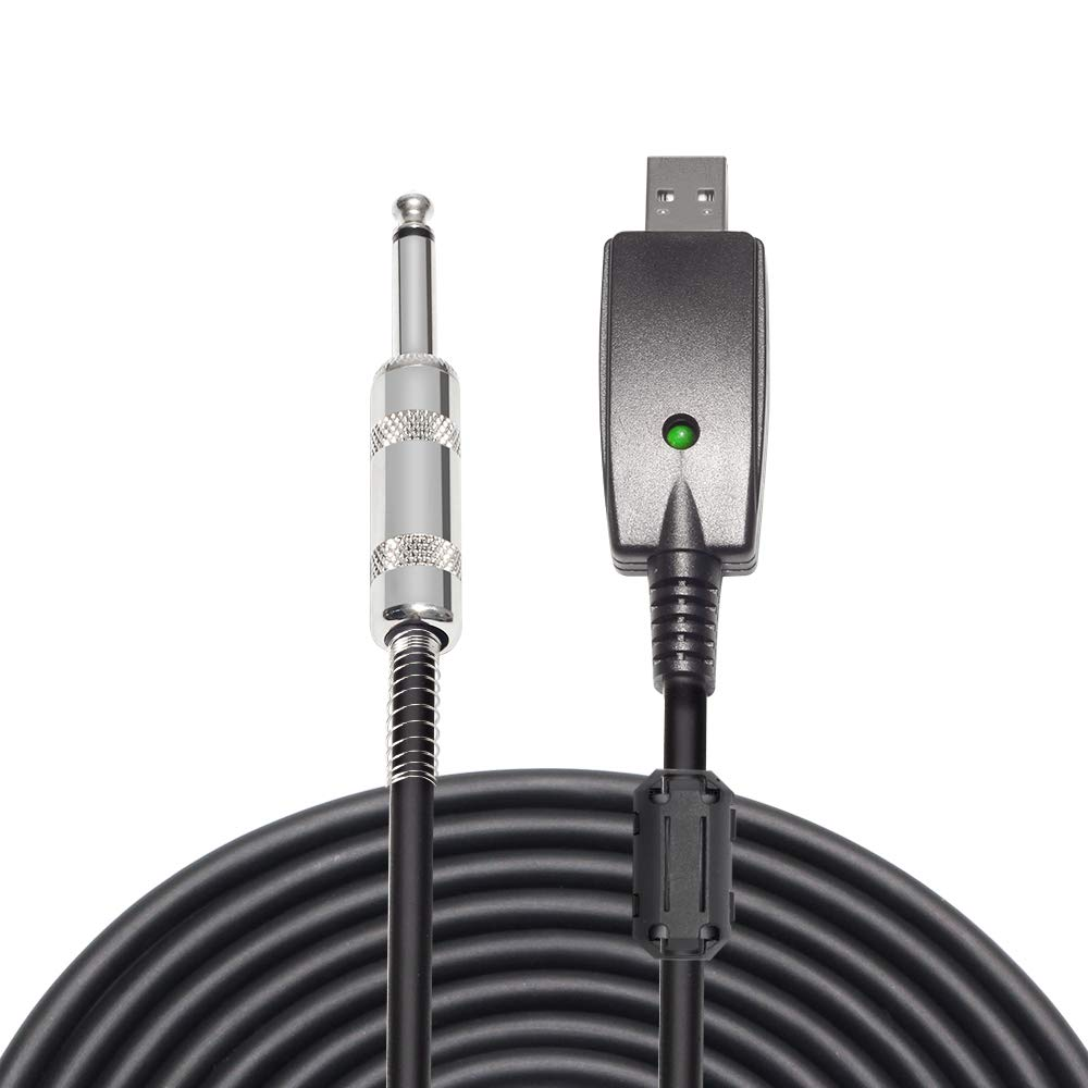 AIHIKO 1/4 to USB Cable, USB to 6.35mm TS Mono Jack Instruments Cord 10ft