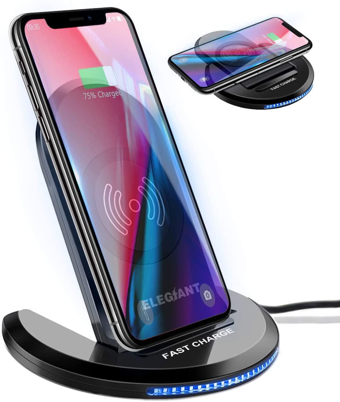 ELEGIANT Wireless Charger, 15W/10W/7.5W Qi Wireless Charging Stand 0 to 90 Degrees Adjustable Compatible with iPhone 11/11 Pro Max/XR/XS MAX/XS/X/8/8 Plus, Galaxy S20/S10/S9/S8/S7 Edge/Note 10+/9/8