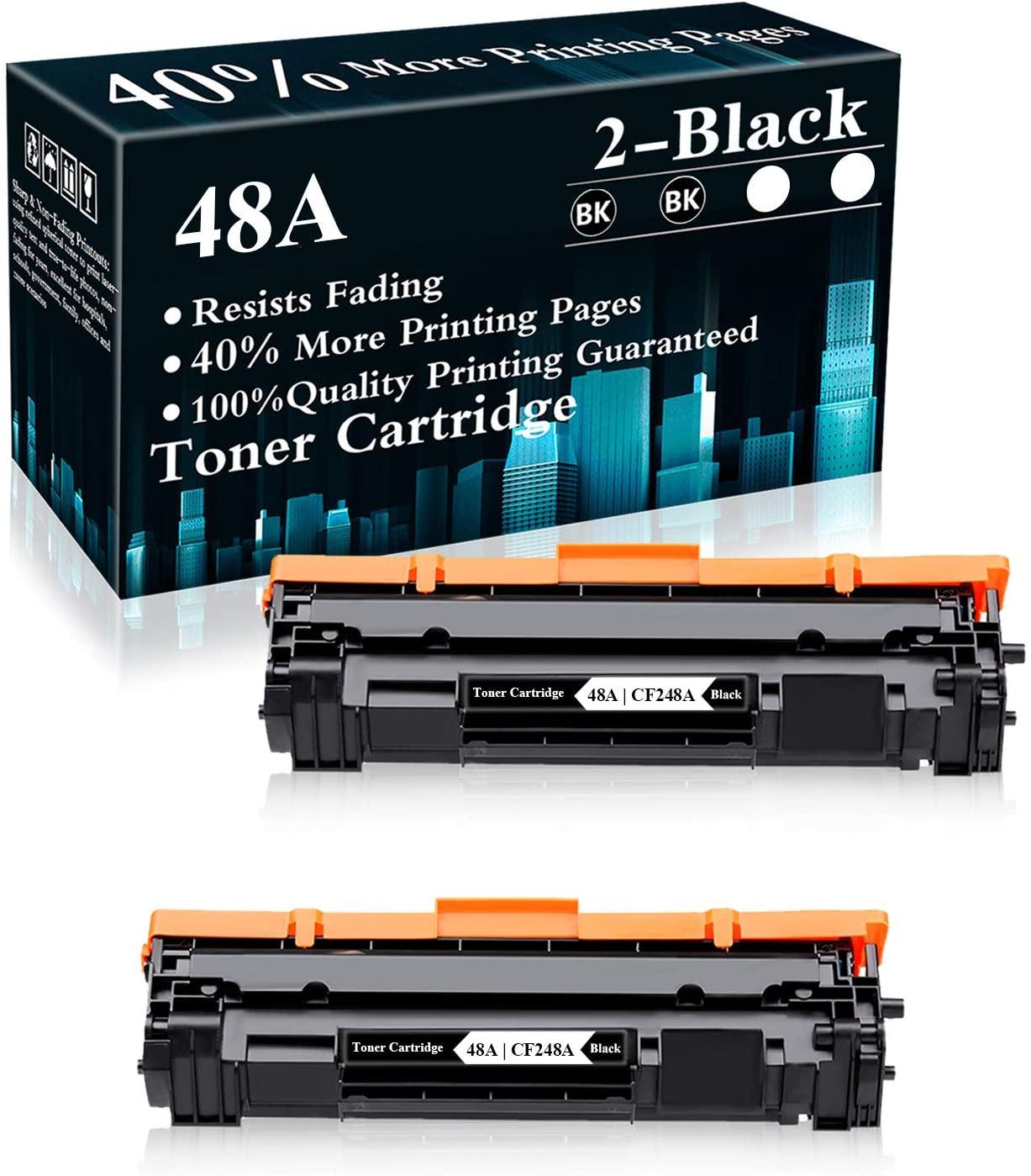 2 Pack 48A   CF248A Black Compatible Toner Cartridge Replacement for HP Laserjet Pro M15a M15w MFP M28a MFP M28w MFP M29w MFP M30w MFP M31w Printer,Sold by TopInk