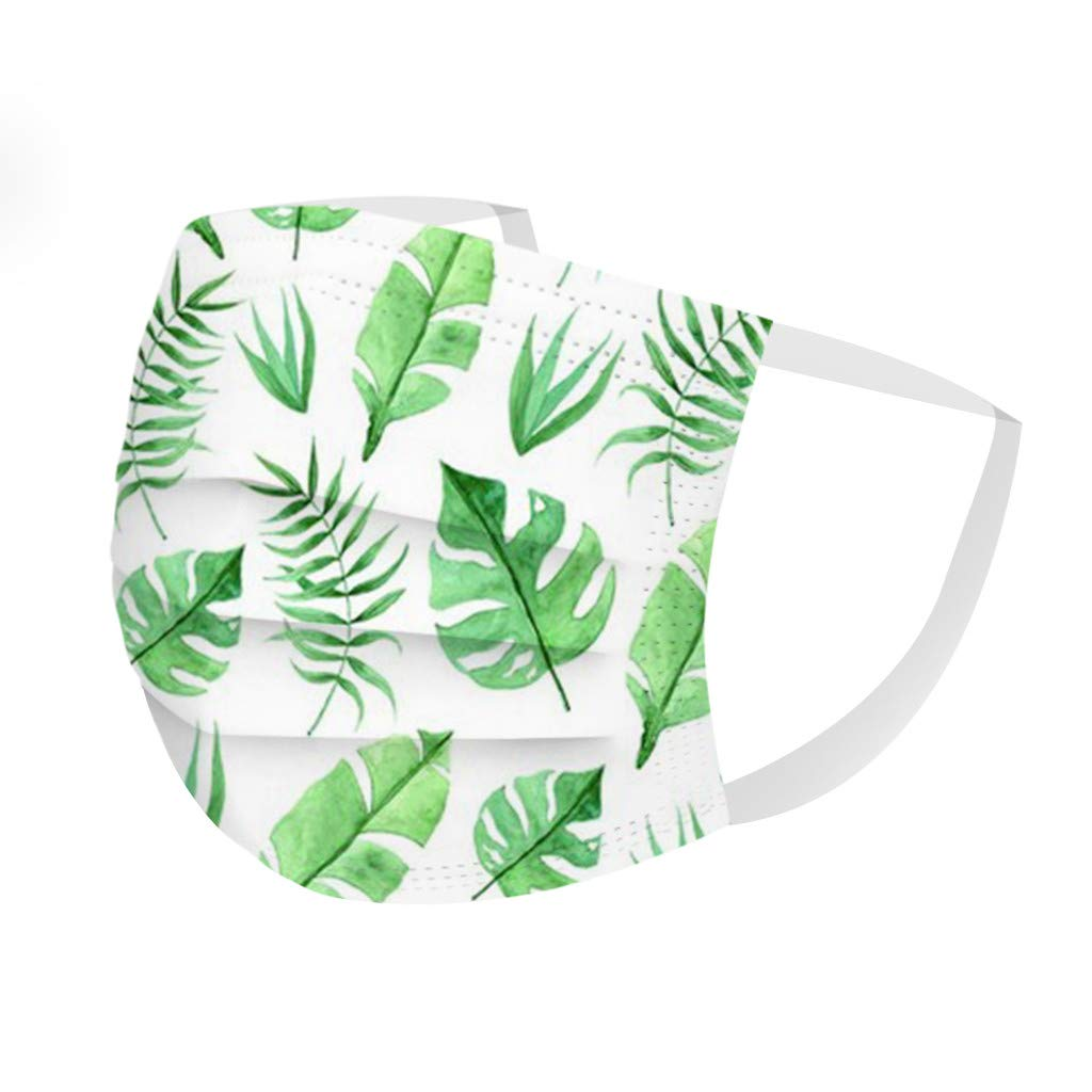 50PCS Mask Adults Mask Disp0sable Protection 3 Layer Face Mask Anti-fog Breathable Leaves Print Mask PM2.5 Breathable Mouth Mask Unisex Face Mask Printing Industrial 3Ply Ear Loop Mask