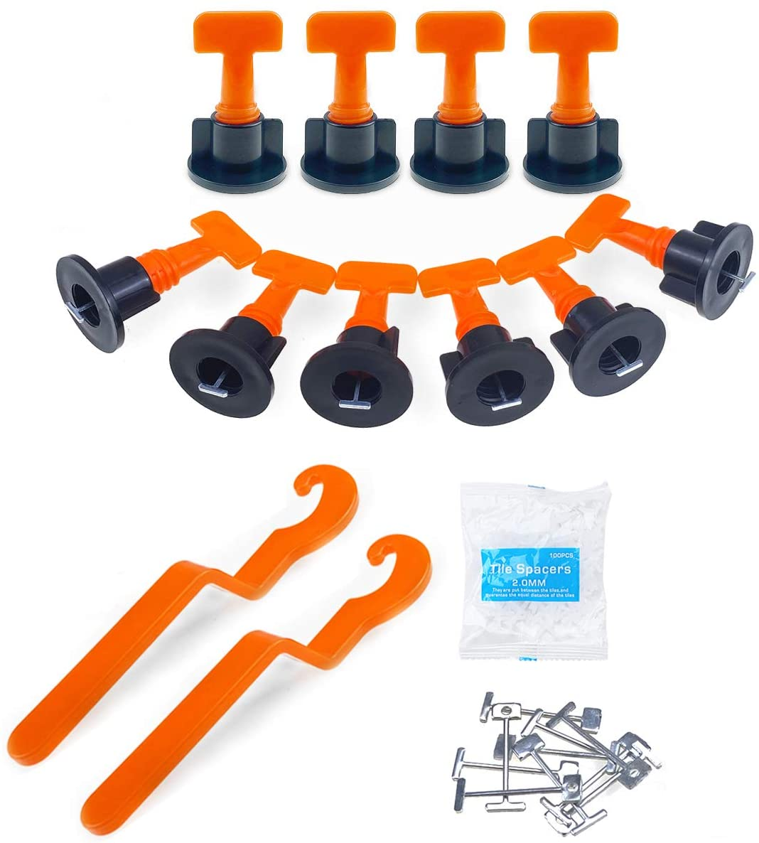 Tile Leveling System Kit with 100 Pcs Reusable Tile Leveler Spacers,500 Pcs 2mm Tile Spacers,2 Special Wrenches, and and 50 Pcs 1/16 Spare Steel Pin