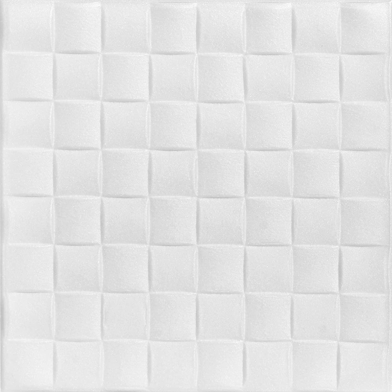 A La Maison Ceilings R25 Basket Weave Foam Glue-up Ceiling Tile (21.6 sq. ft./Case), Pack of 8, Plain White