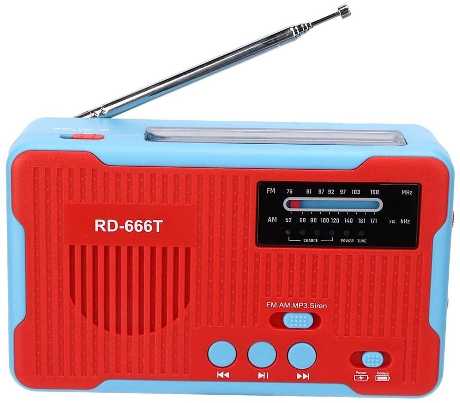 EBTOOLS Hand Crank AM FM Radio, Portable Solar Radio, Powered Emergency with LED Flashlight,Convenient and Practical, with Three Charging Methods,FM: 76-108mhz AM: 520-1710khz(Red)