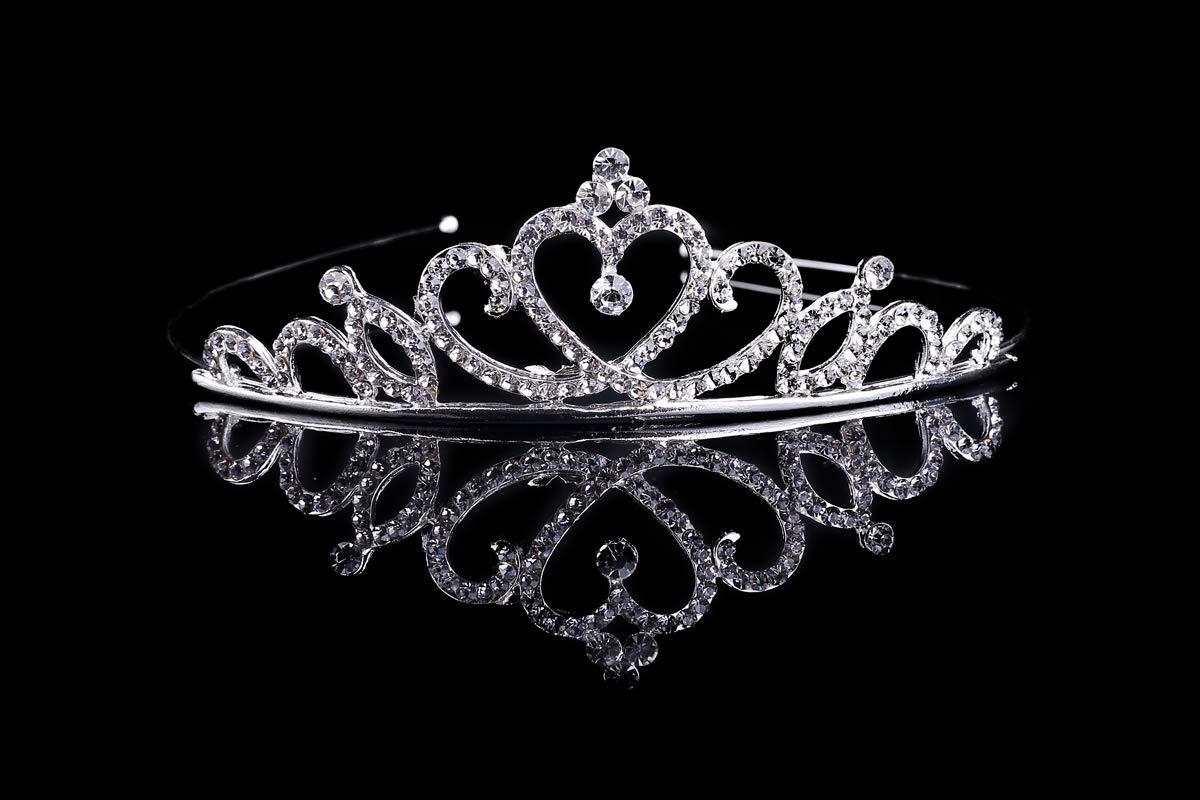 Girls Prinecess Rhinestone Crystal Tiara Crown For Wedding Birthday Party (Heart)-1Pack