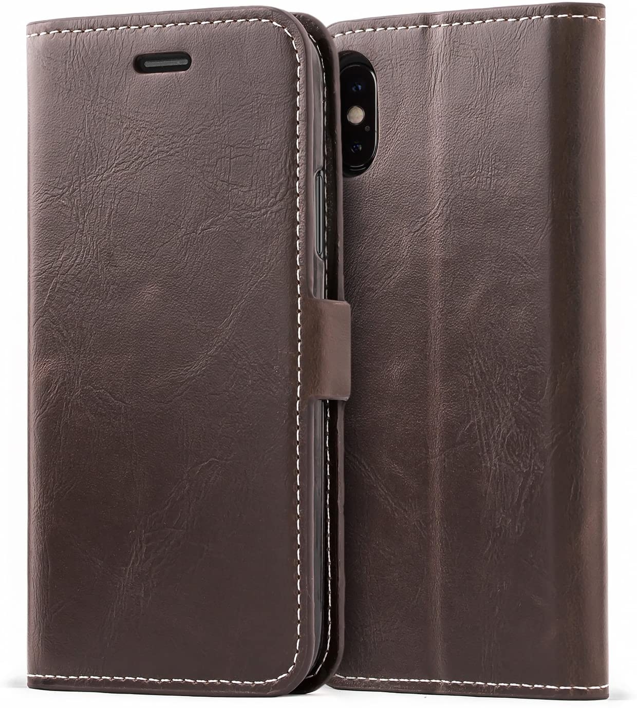 Mulbess iPhone Xs Wallet Case, Flip Leather Phone Case with Kickstand and Card Holder for iPhone Xs/X Cover, Coffee Brown