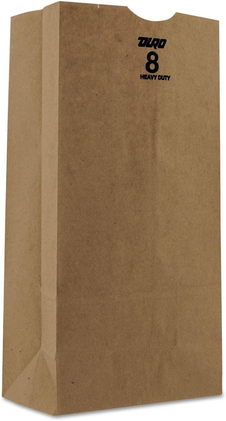 General GH8500#8 Paper Grocery Bag 50lb Kraft Heavy-Duty 6 1/8 x 4 1/8 x 12 7/16 500 bags