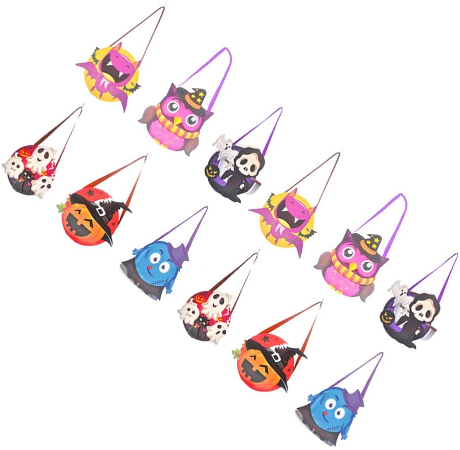 TOYANDONA 12pcs Halloween Trick or Treat Bags Kids Candy Paper Bags Reusable Tote Bags for Halloween Party Favor