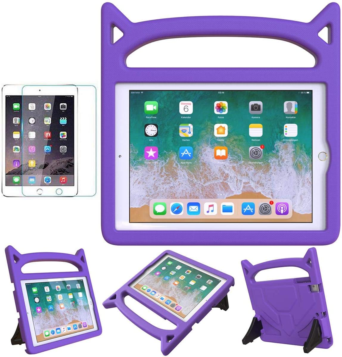 MOXOTEK Kids Case for iPad 9.7 2017/2018,iPad 5th/6th Generation Case,iPad Air 1/2 Case,iPad Pro 9.7 inch Case, Durable Shockproof Protective Handle Stand Bumper Case with Screen Protector, Purple