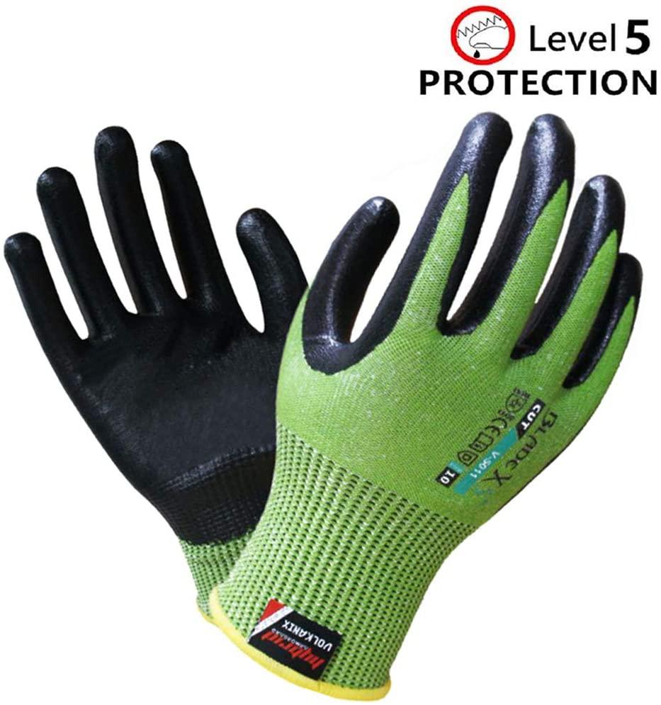 LPRED V-5011 Gardening Working Gloves for Women and Men. Eco-friendly Breathable, Anti-skid, Level 5 Cut Resistant, EN388 Certification, for Gardening, Fishing, Restoration Work (M)