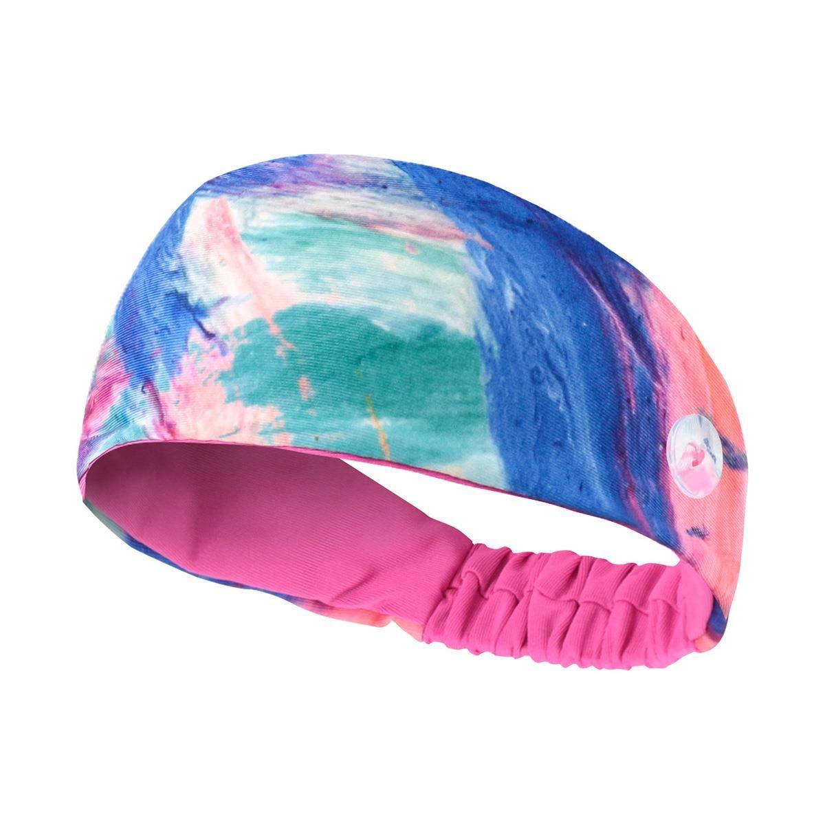 Sweatband Buttons Headband for Men Women Ear Protection Holder Yoga Sport Headband Moisture Wicking Fitness Workout Head Wrap Hair Sweat Band Elastic Non Slip Wide Turban Headwear for Outdoor Gym Pink