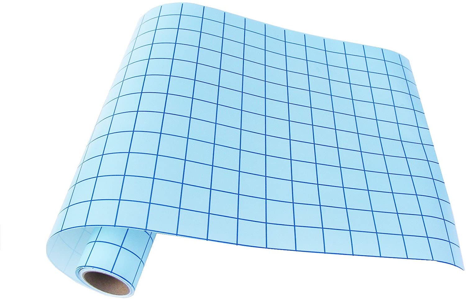 """Qbc Craft 12"""" x 10 Feet Transfer Paper Tape for Vinyl Application with Blue Grid Lines - Self Adhesive Transfer Paper Roll Compatible with Cricut, Silhouette Cameo - 12 Inch by 10 Feet, Clear"""
