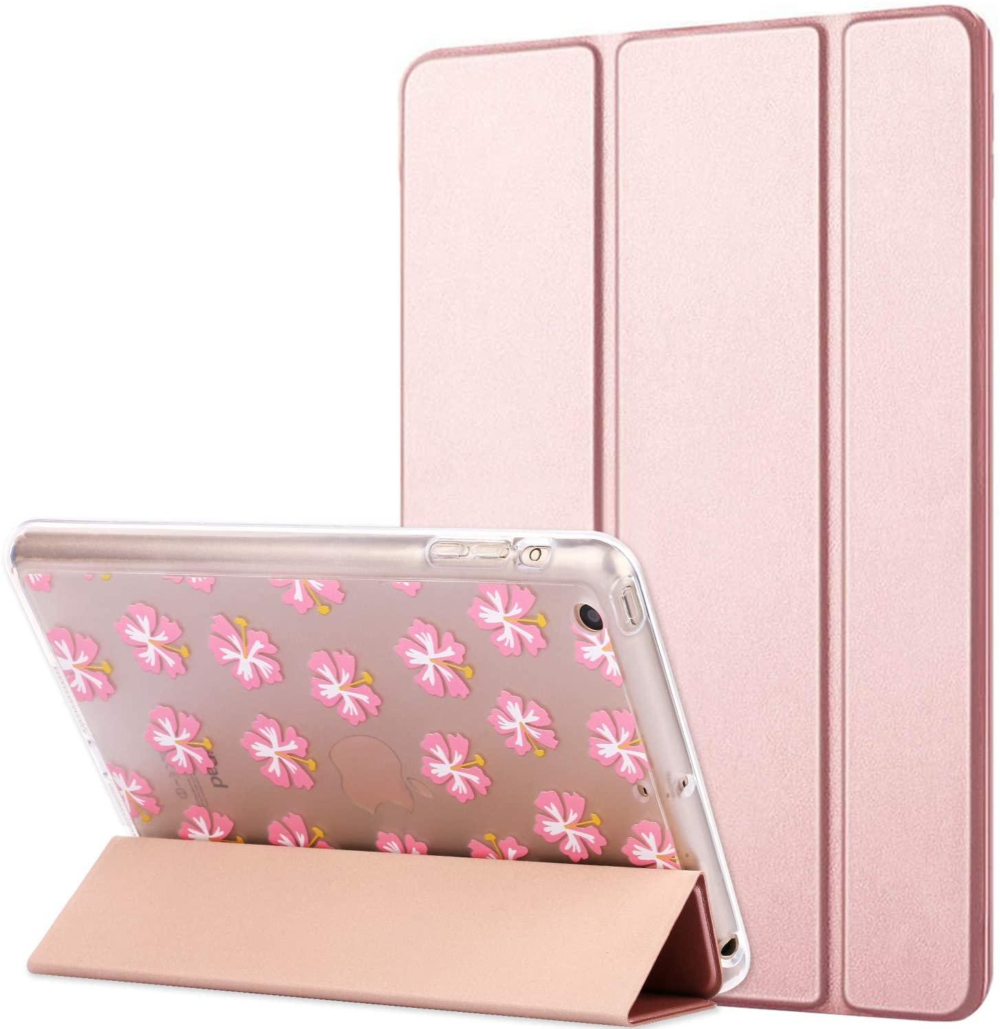 Dailylux iPad Mini Case,iPad Mini 2 Case,Smart Folio Stand Cover Ultra Slim Light Weight Shockproof TPU + Hard PC Cover Flower Pattern w/Auto Sleep/Wake Function for ipad Mini 1/2/3-Rose Gold