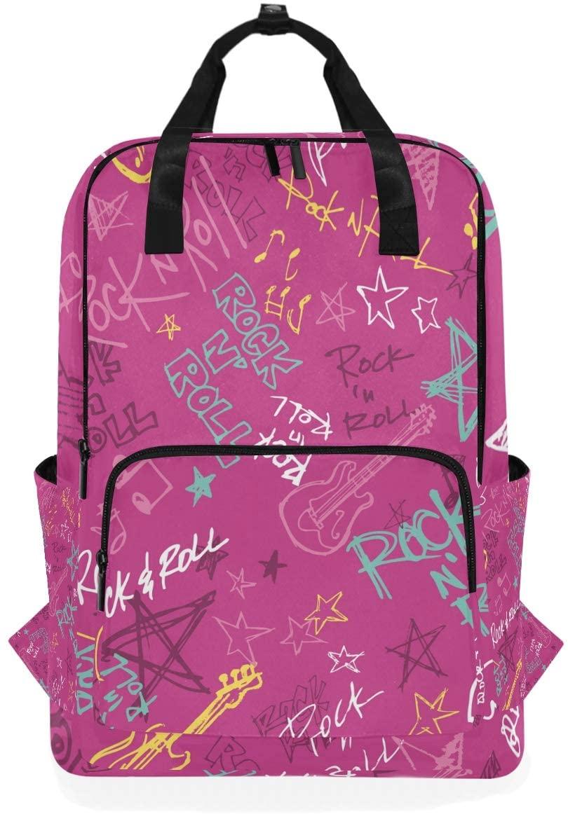 Pink Music Star Backpack Bookbag for School Boys Girls Laptop Bag Travel Shoulder Bags Women Men