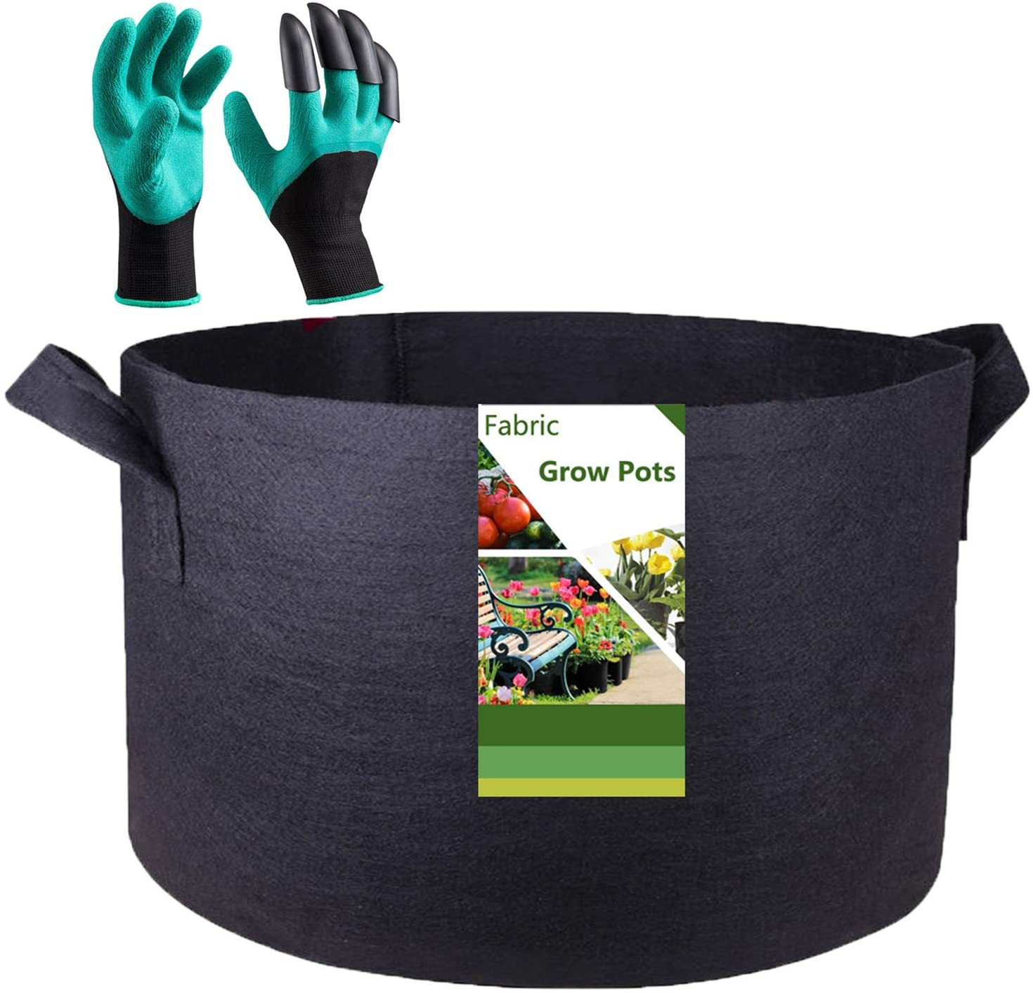 Tespher Professional 200 Gallon Round Grow Bag Fabric Raised Bed (50x24 inches) with Garden Gloves, Extra Large Root Aeration Container Plant Raised Bed Bag Flower Pot Vegetable Nursery Planter
