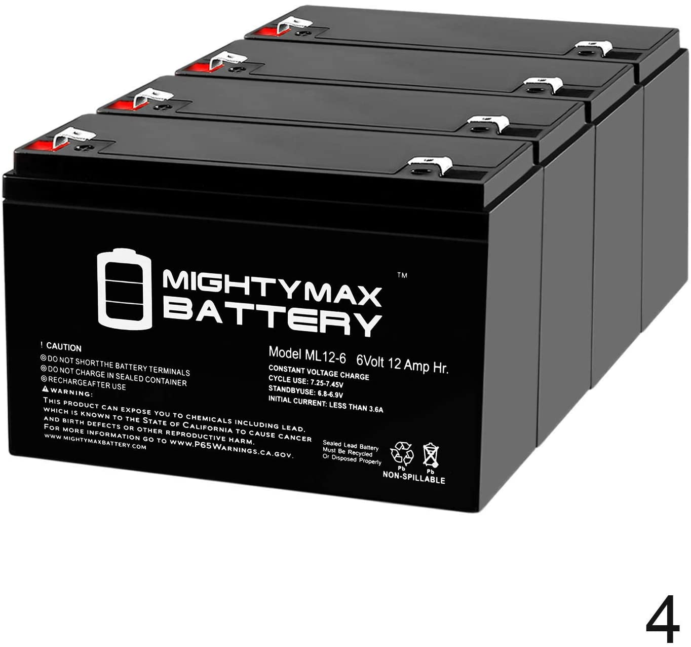 Mighty Max Battery 6V 12AH F2 SLA Replacement Battery for NP8-6 NPX-50-4 Pack Brand Product