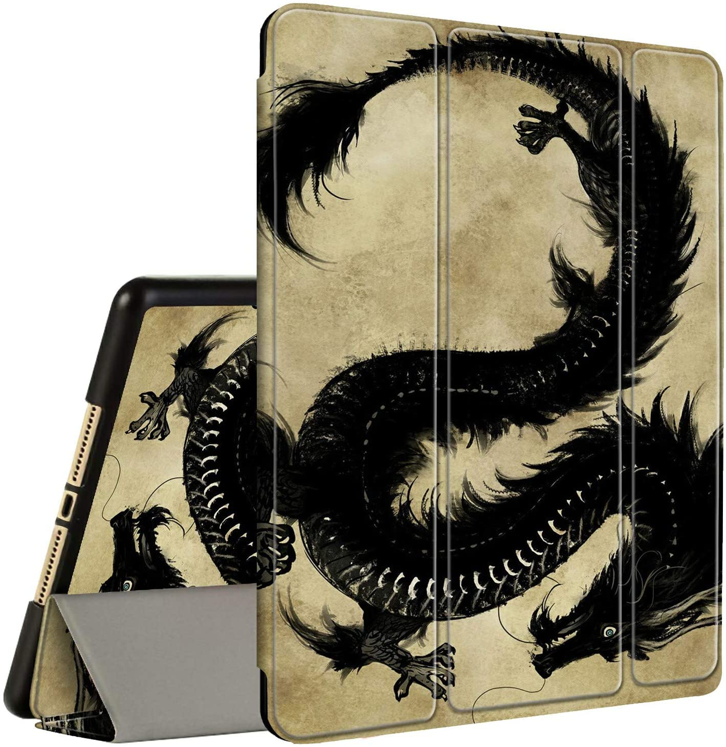 iPad Air 3 2019 Case, iPad Pro 10.5 Inch Case 2017, Amook Tri-fold Smart Cover Stand TPU Case with Pencil Holder Auto Sleep/Wake for Apple iPad Pro/Air 3rd Gen 10.5- Dragon