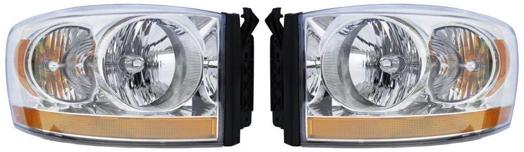 For 2006 Dodge Pickup Driver and Passenger Side Headlight Assembly Lens/Housing DOT CH2518114N