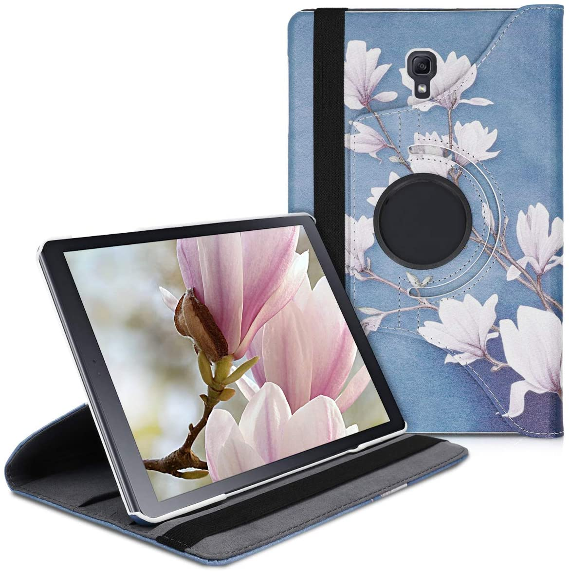 kwmobile 360° Case Compatible with Samsung Galaxy Tab A 10.5 - PU Leather Tablet Cover with Stand Function - Magnolias Taupe/White/Blue Grey