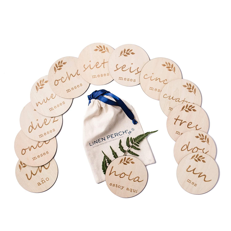 Linen Perch Baby Milestone Cards - Wooden Monthly Milestones Discs - Newborn Photography Prop -Birth Announcement - Set of 13 Engraved Discs (4