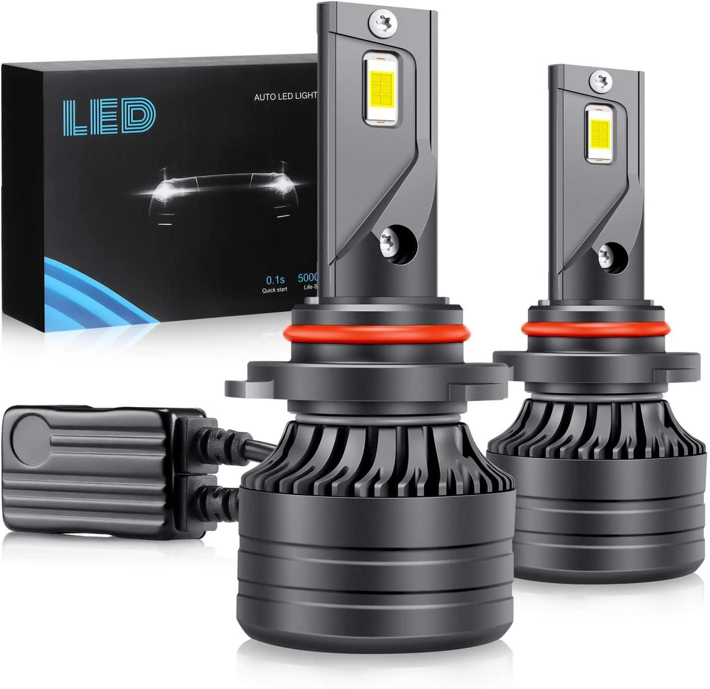9005 HB3 LED Headlight Bulbs,60W 10000Lumens Super Bright LED Headlights Conversion Kit 6000K Cool White IP68 Waterproof Pair