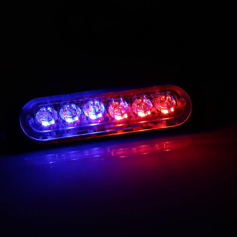 Qiilu 2pcs 12/24V 6 LED Car Truck Emergency Warning Strobe Light Hazard Flashing Lamp(Red-Blue)