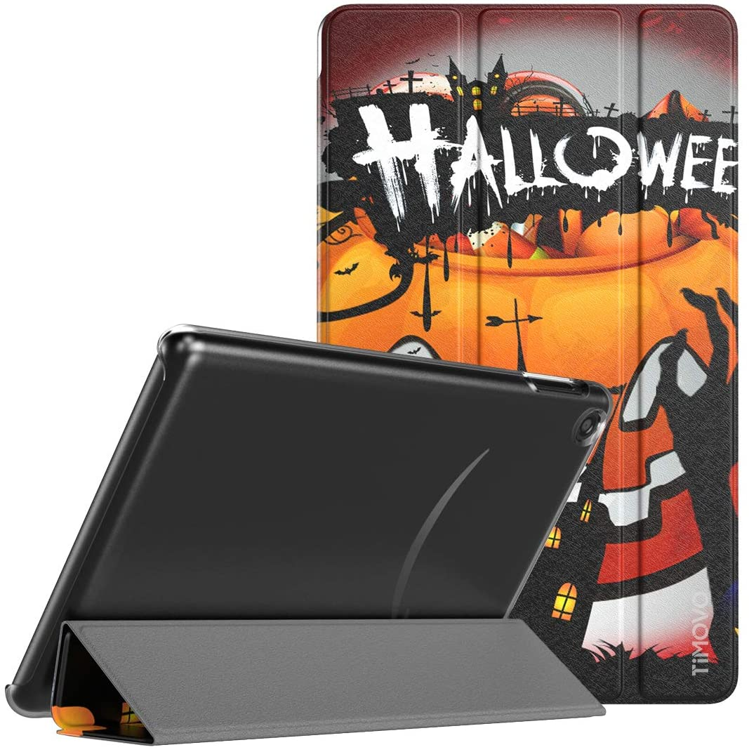 TiMOVO Case Fits All-New Fire 7 Tablet (9th Generation, 2019 Release), Slim Tri-fold Stand Cover Translucent Case with Auto Wake/Sleep Fit DHgate Fire 7 Tablet - Halloween Carnival