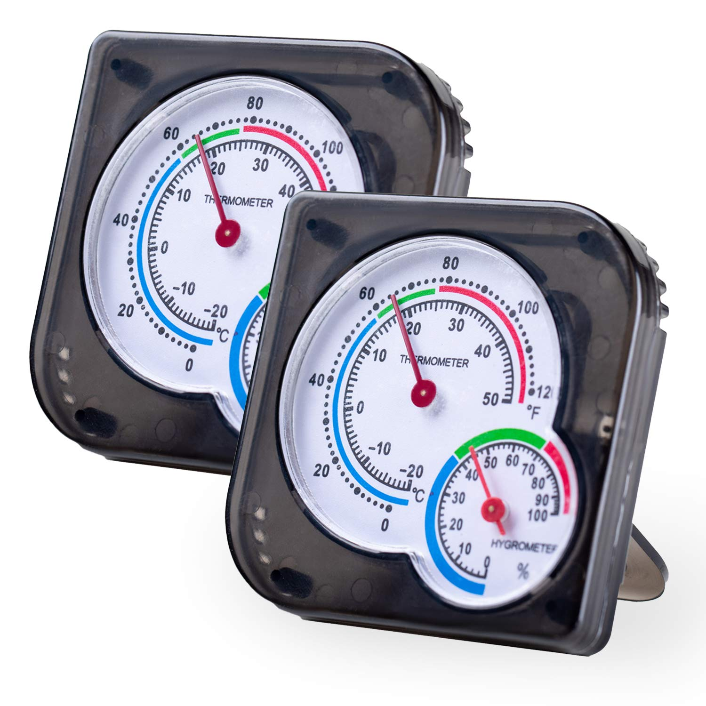 Indoor Thermometer , Hockham Humidity Gauge Room Thermometer Humidity Monitor for Room,Greenhouse,Kitchen,Study,Bedroom,Wine Cellar,Basement No Battery Needed(Black)- 2 Pack