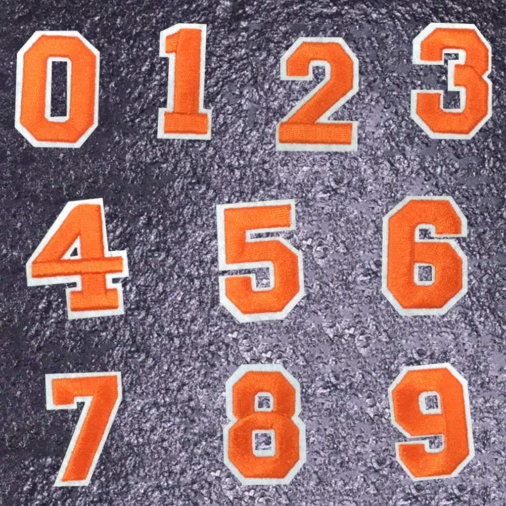 Iron On Numbers 0-9 Embroidered Patch Ironed On or Sew On Patches Orange Number Applique Patches Badge Decorative Repair Patches for Shoe Clothes Backpack Clothing Hat Jeans