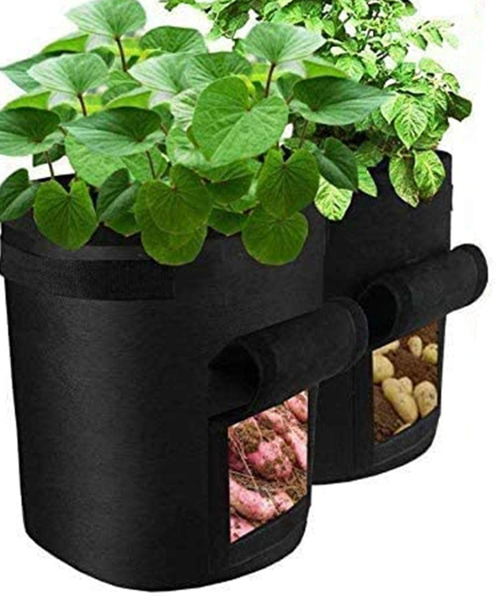 VANUODA 2 Pack Potato Grow Bags,Gardening Plant Growing Bags Bed,Garden Boxes Tomato,Carrot Vegetable Planter Container with Window Handles Flap Bottom Holes for Optimum Root Growth (4 Gallon)
