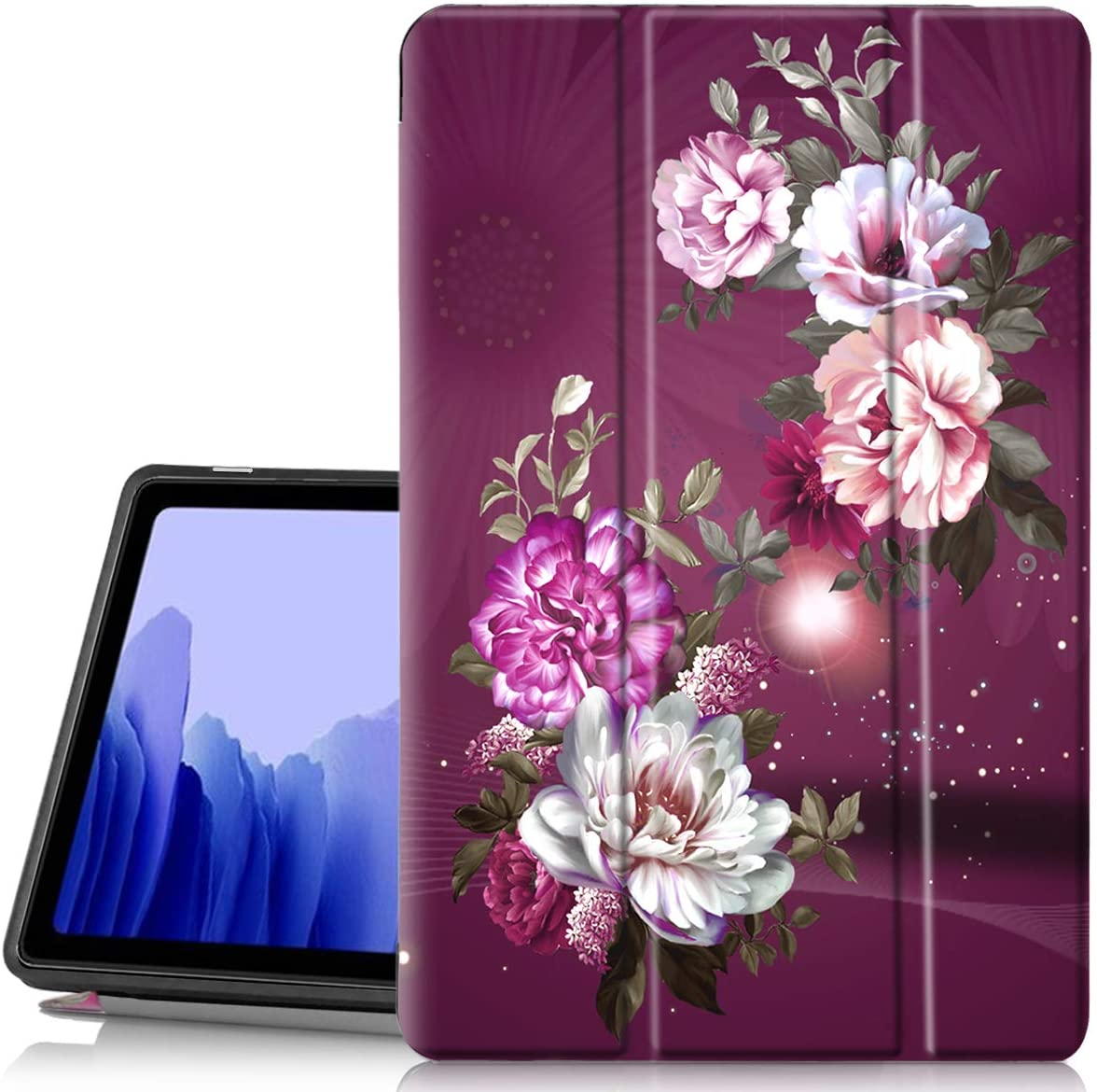 Hocase Galaxy Tab A7 10.4 Case, PU Leather Smart Flip Case with Cute Flower Design, Auto Sleep Wake Feature, Soft TPU Back Cover for Samsung Galaxy Tab A7 (10.4-inch Display) 2020 - Burgundy Flowers