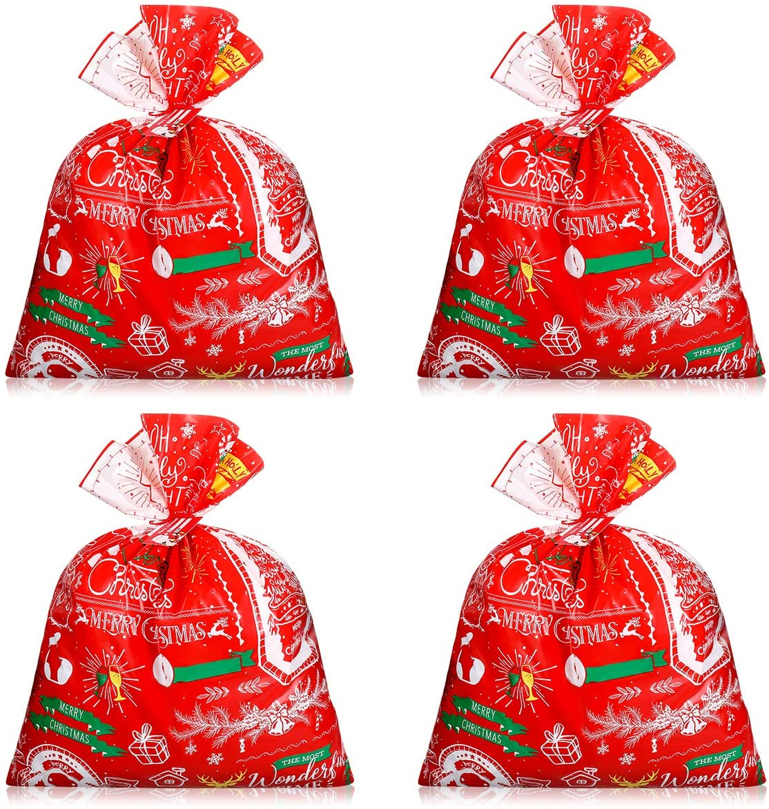 Cabilock Christmas Bags Festive Large Capacity Xmas Goody Bags Christmas Wrapping Bags Storage Pouches for Xmas Party Holidays 4pcs