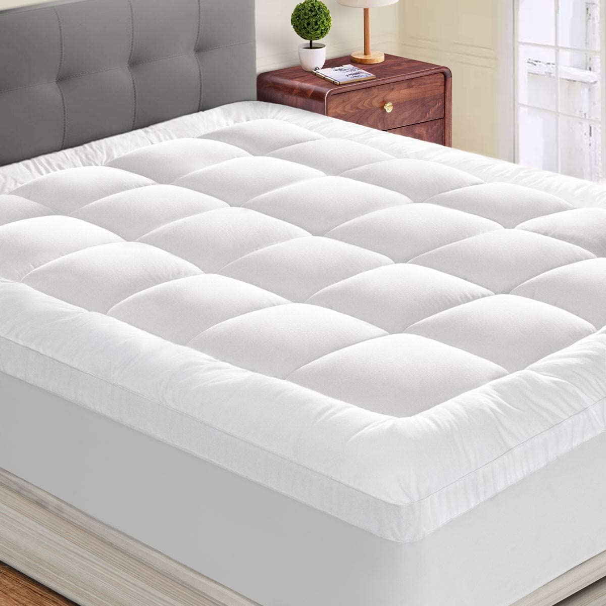 """HYLEORY Queen Mattress Topper Extra Thick Stretches up 8-21 Deep Pocket - 2"""" Thick Double Border Overfilled Quilted Fitted Mattress Pad Breathable Pillowtop with Snow Down Alternative"""
