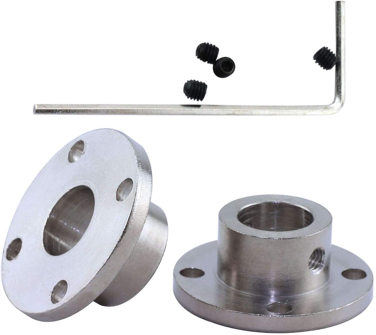 TOTOT 2X 12mm Flange Coupling + 1x M4 L Shape Allen Wrench + 4X M4 Fastening Screw High Hardness Rigid Flanged Joint Shaft Coupler Motor Connector